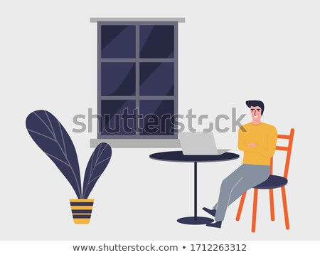 man and woman sitting on chairs at table vector stock photo © robuart