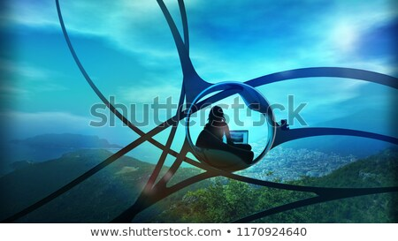 Sci-fi blogger surrounded by nature. Stock photo © ConceptCafe