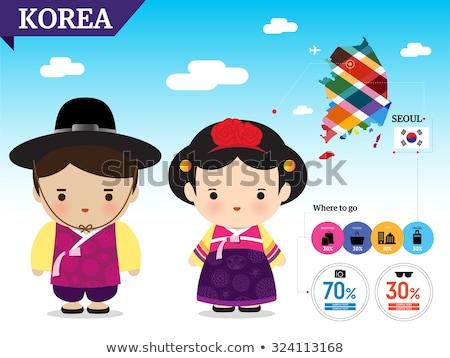 Kid Girl Costume Korean Flag Illustration Stock photo © lenm