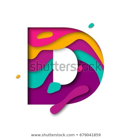 Színes papír kivágás betűtípus d betű 3D 3d render Stock fotó © djmilic