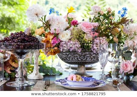食器 セット 表 プレート 花 木製 ストックフォト © neirfy