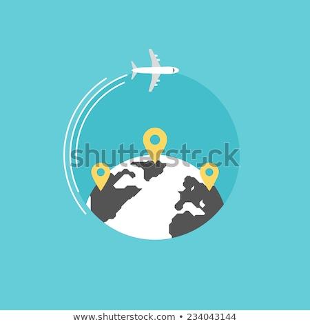 Dünya haritası etrafında dünya yolculuk dünya küreselleşme Stok fotoğraf © kyryloff