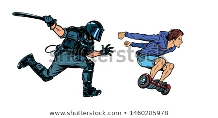 teen skateboarder. riot police with a baton Stock photo © studiostoks