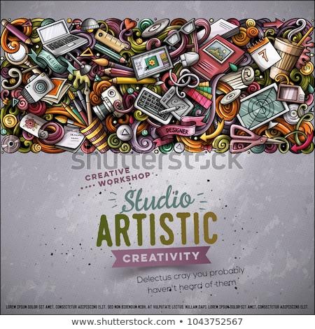 Cartoon wektora bazgroły projektu karty artystyczny Zdjęcia stock © balabolka