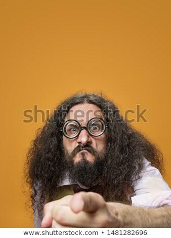 Cloesup portrait of a freaky nerd Stock photo © majdansky