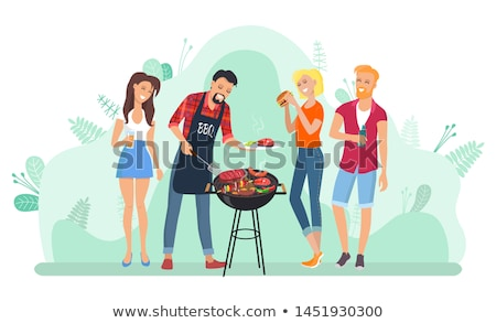 barbecue leisure people frying meat grill vector stock photo © robuart
