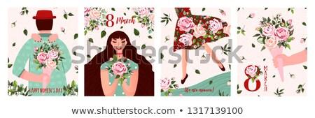 menina · buquê · flores · primavera · vetor - foto stock © robuart