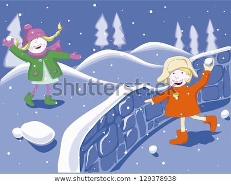 jovem · família · bola · de · neve · lutar · paisagem · mulher - foto stock © monkey_business