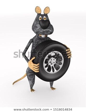 ラット タイヤ 白 孤立した 3次元の図 マウス ストックフォト © ISerg