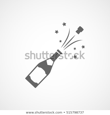 Champagne Bottle with Emblem and Glass Vector Stock photo © robuart