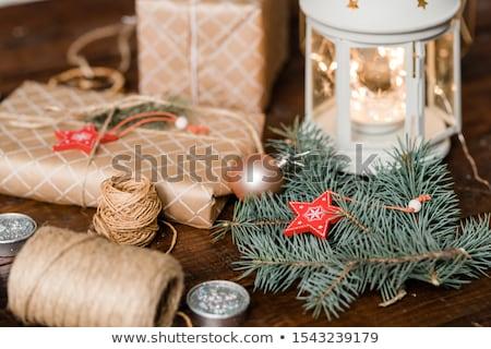 Foto stock: Navidad · linterna · decoraciones · hasta · ardor · vela