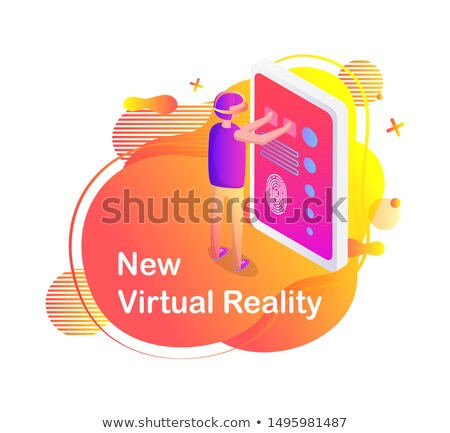 Man in Virtual Glasses, Touchscreen Tablet Vector Stock photo © robuart