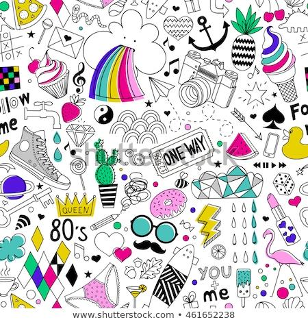 Stock fotó: Rajz · aranyos · firkák · kézzel · rajzolt · fánkok · végtelen · minta