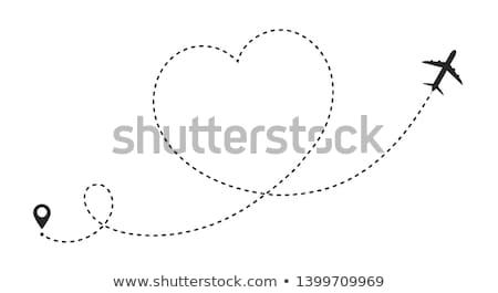 Noktalı kalp uçak rota hat form Stok fotoğraf © -TAlex-