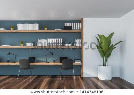 Blue Desk Lamp on Wooden Floor in the Room Stock photo © make