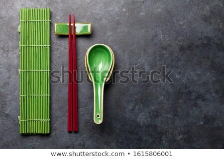 Japon Çin yemek çubukları çorba kaşık taş tablo Stok fotoğraf © karandaev