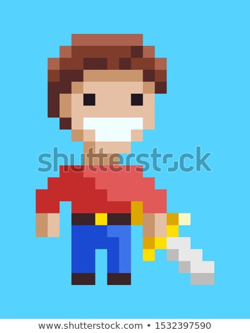 Knight Holding Steel, Duel Element, Game Vector Stock photo © robuart