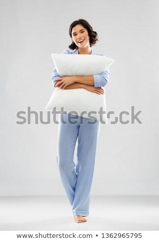 Feliz mulher jovem azul travesseiro pessoas Foto stock © dolgachov