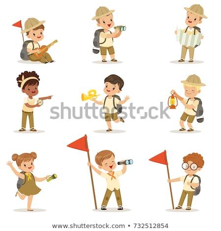 Menino escoteiro uniforme caminhadas vara branco Foto stock © bluering