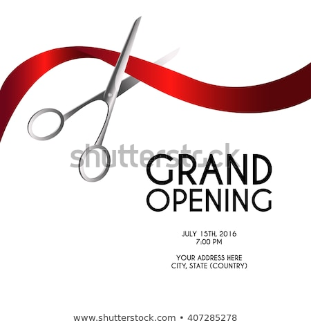 Grand opening banner - scissors cutting a ribbon, launching a pr Stock photo © gomixer