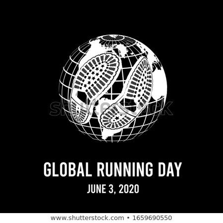 Global running day, 2020. Annual wellness event. Vector illustration Stock photo © m_pavlov