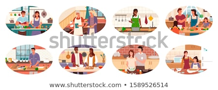 Man Cutting Veggies in Kitchen, Bachelor at Home Stock photo © robuart