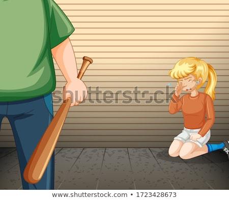 Ağlayan kız öfkeli adam beysbol sopası örnek Stok fotoğraf © bluering
