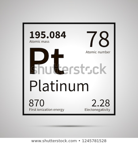 Platinum chemical element with first ionization energy, atomic mass and electronegativity values ,si Stock photo © evgeny89