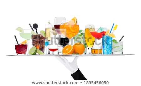 Batler waiter wearing white glove tray with various cocktails with ice isolated on white.Blue lagoon Stock photo © DenisMArt