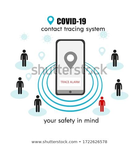 contact tracing app COVID-19 Pandemic Coronavirus Mobile Application - people Wearing Face Mask Usin Stock photo © galitskaya