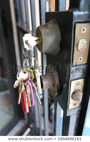 Many metal locks are hanging on black fence Stock photo © carenas1