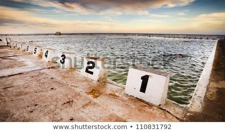 ニューカッスル 海 プール 日没 チェーン スイミング ストックフォト © jeayesy