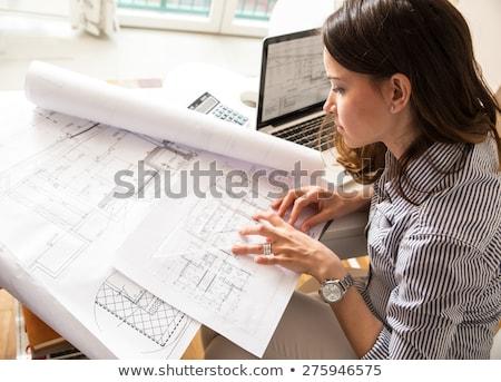 Stock fotó: Női · építész · boldog · laptop · igazgató · munkás