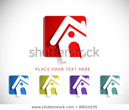 abstract shiny home icon stock photo © pathakdesigner