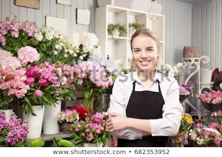 Feminino florista flores mulher cesta solo Foto stock © photography33