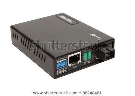Fiber Optic Media Converter Card With Sfp Zdjęcia stock © Artush