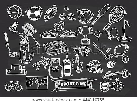 Krijttekening voetbal voetbal tijd houten Blackboard Stockfoto © bbbar