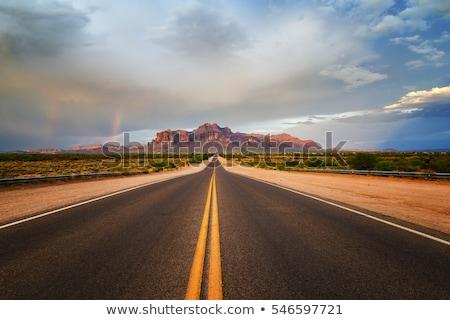 Winter wegen Arizona USA auto licht Stockfoto © phbcz