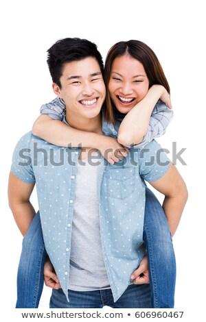 вид · сзади · улыбаясь · привлекательный · пару · любви · сидят - Сток-фото © get4net
