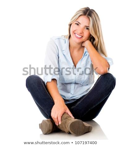 młodych · blond · kobieta · posiedzenia · piętrze - zdjęcia stock © RuslanOmega