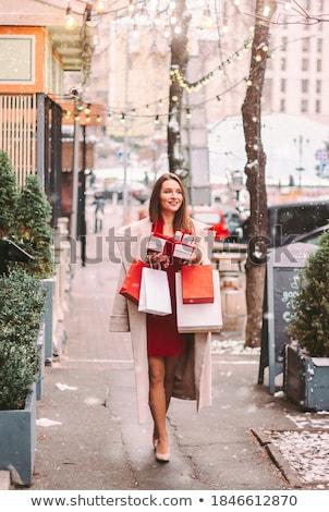 glimlachend · brunette · vrouw · shirt · jas - stockfoto © lithian