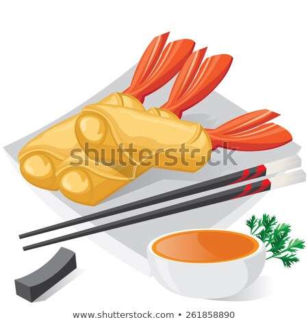 asia food, spring roll and shrimp fritter stock photo © M-studio