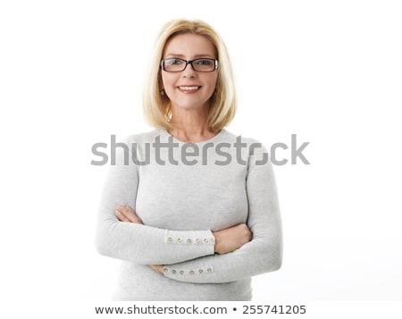 portré · nő · áll · felfelé · fehér · kéz - stock fotó © wavebreak_media