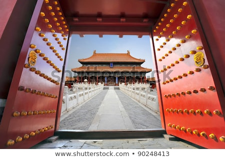 Red Gate Doors Gugong Forbidden City Palace Beijing China Stock photo © billperry