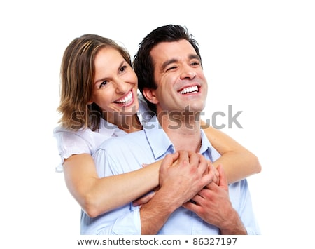 Stock photo: Beautiful young couple closeup portrait over white