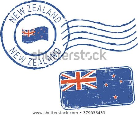 Post sello Nueva Zelandia impreso azul pato Foto stock © Taigi