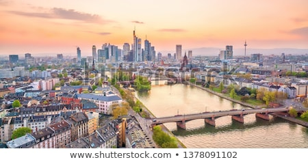 Légi Frankfurt fő- este üzlet égbolt Stock fotó © meinzahn