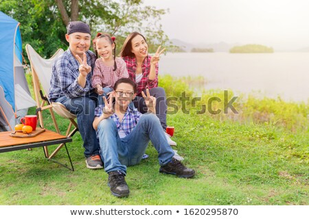 kinderen · picknick · drie · cute · samen · bloemen - stockfoto © littlelion