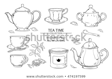 Tea cup background with teapot and jar Stock photo © Elmiko