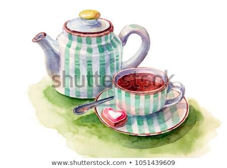 Herbal tea with watercolor green heart Stock photo © Elmiko